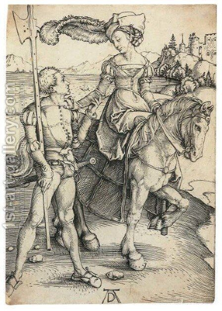 Lady on Horseback and Lansquenet 2 by Albrecht Durer - Reproduction Oil Painting