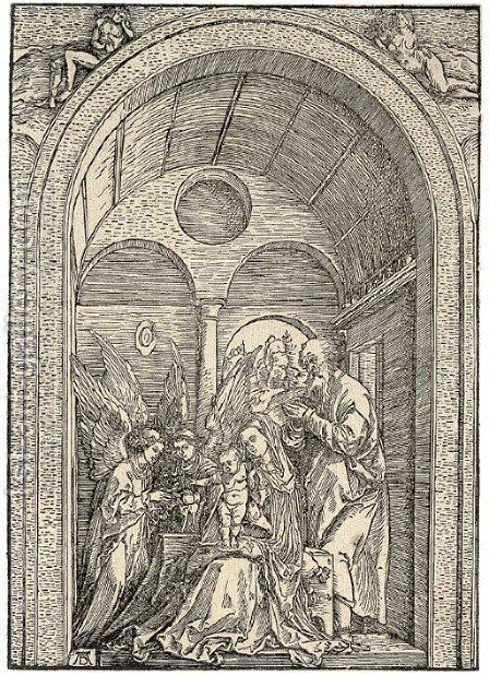The Holy Family with two Angels in a vaulted Hall by Albrecht Durer - Reproduction Oil Painting