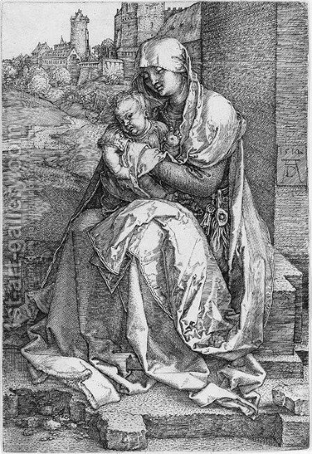 The Virgin and Child Seated by a Wall 2 by Albrecht Durer - Reproduction Oil Painting