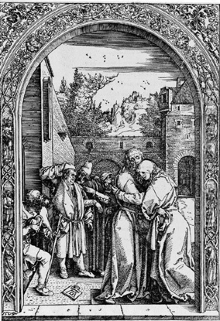 Joachim and St. Anne meet at the golden Gate, from The Life of the Virgin by Albrecht Durer - Reproduction Oil Painting