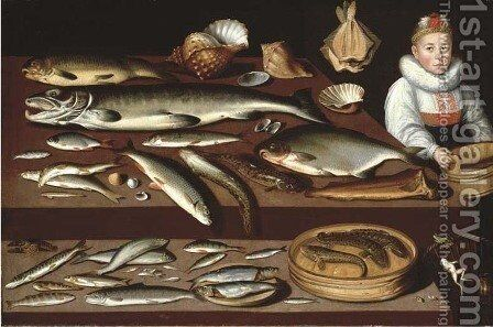A table laden with a salmon by Albrecht Kauw - Reproduction Oil Painting
