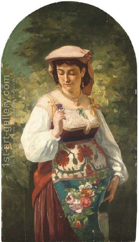 An Italian beauty holding a flower by Aleksandr Davidovic Drevin - Reproduction Oil Painting