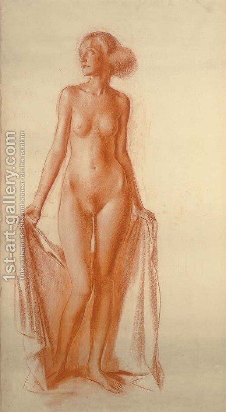 Standing Female Nude by Aleksandr Evgen'evich Iakovlev - Reproduction Oil Painting