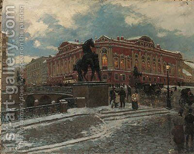 View of the Anichkov Bridge in St. Petersburg by Aleksandr Karlovich Beggrov - Reproduction Oil Painting