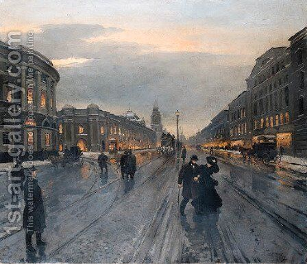 View of the Nevskii Prospect by Aleksandr Karlovich Beggrov - Reproduction Oil Painting