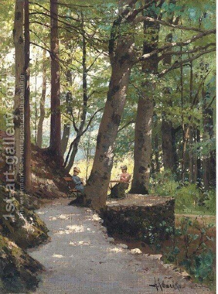 Two ladies at rest in a wooded landscape by Aleksei Danilovich Kivshenko - Reproduction Oil Painting