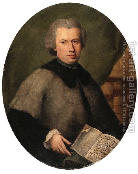 Portrait of Monsignor Francesco Dall'Acqua, half length, wearing a grey cloak and holding a copy of his book, in a library by Alessandro Longhi - Reproduction Oil Painting