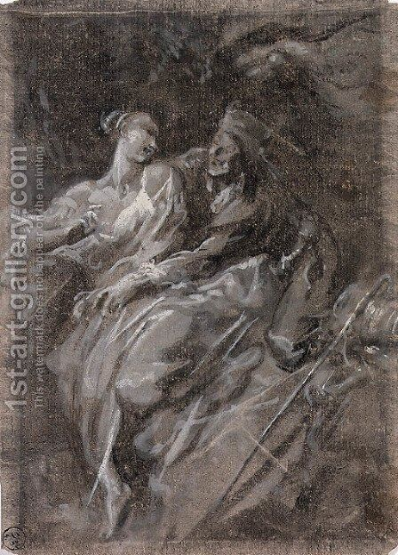 An amorous couple by Alessandro Magnasco - Reproduction Oil Painting