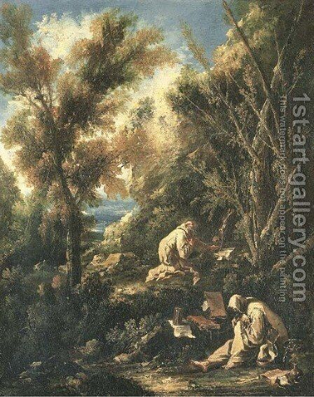 Two monks praying in a landscape by Alessandro Magnasco - Reproduction Oil Painting