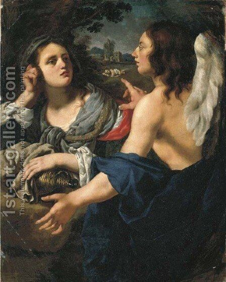 Hagar and the Angel by Alessandro Rosi - Reproduction Oil Painting