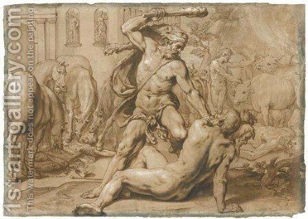 Hercules and Geryon, with the Mares of Diomedes devouring the king's body to the left and Hercules leading away the Oxen of Geryon to the right by Alessandro Turchi (Orbetto) - Reproduction Oil Painting