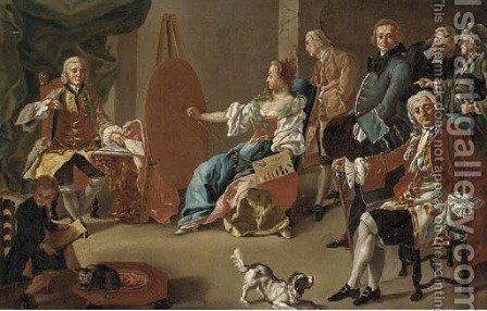 Elegant company in an interior with a gentleman sitting for his portrait by Alessio D'Elia - Reproduction Oil Painting