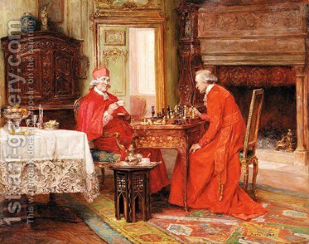 A game of chess by Alex De Andreis - Reproduction Oil Painting