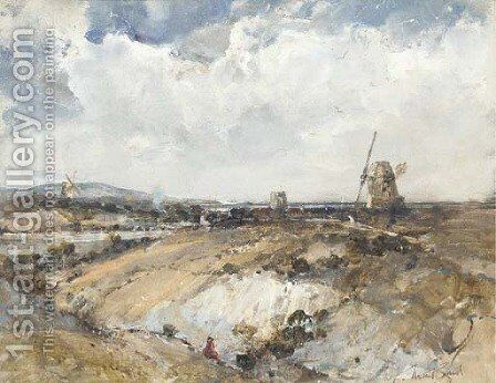 A line of windmills on the coast by Alex Fuller Maitland - Reproduction Oil Painting