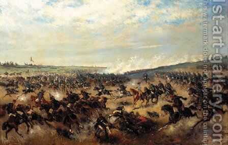 A cavalry charge by Alexander Ritter Von Bensa - Reproduction Oil Painting