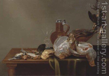 A blue tit, a red finch, a patridge, a kingfisher, and other dead birds on a half draped table, with a glass and silver rimmed jug by Alexander Adriaenssen - Reproduction Oil Painting