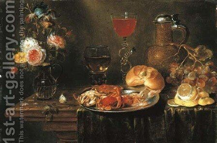 Roses and an iris in a glass vase, crabs and prawns on a pewter platter, a Facon-de-Venise wineglass, a stoneware ewer, a bunch of grapes by Alexander Adriaenssen - Reproduction Oil Painting