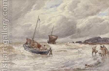 Rough weather Fishing boats unloading the catch by Alexander Ballingall - Reproduction Oil Painting