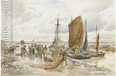 Unloading the catch, Largo, Fife by Alexander Ballingall - Reproduction Oil Painting
