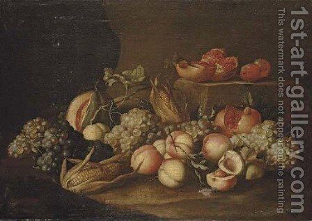 Peaches, grapes, corn on the cob, pomegranates and a melon on a stone floor by Alexander Coosemans - Reproduction Oil Painting
