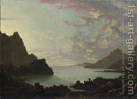 A bay at dusk by Alexander Cozens - Reproduction Oil Painting