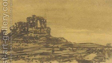 A castle in a landscape by Alexander Cozens - Reproduction Oil Painting