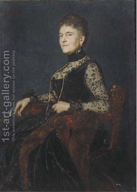 Portrait of a lady by Alexander Fuks - Reproduction Oil Painting