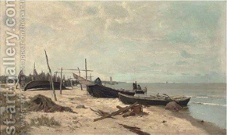 Fisherfolk on the shore by Alexander Georg Schlater - Reproduction Oil Painting