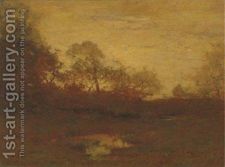 Evening Autumn Landscape by Alexander Helwig Wyant - Reproduction Oil Painting