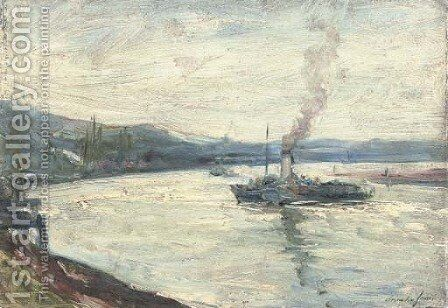 A paddlesteamer on a river by Alexander Jamieson - Reproduction Oil Painting