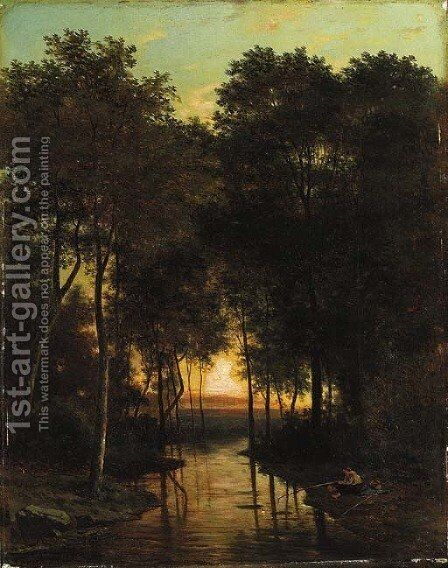 Fishing at dusk by Alexander Joseph Daiwaille - Reproduction Oil Painting
