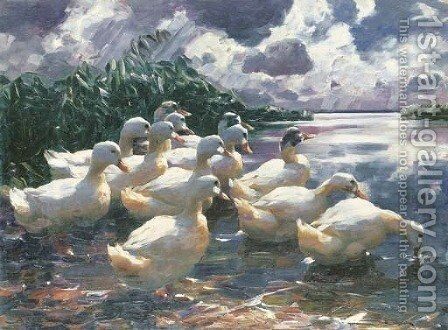 Ducks on a Pond 2 by Alexander Max Koester - Reproduction Oil Painting