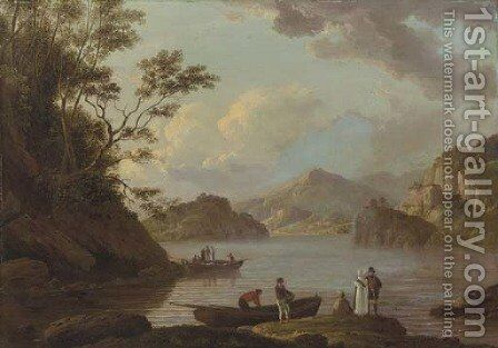 A view of Loch Lomond with figures and boats in the foreground by Alexander Nasmyth - Reproduction Oil Painting