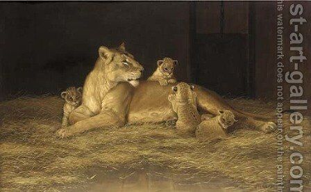 Lioness and her cubs by Alexander Pope - Reproduction Oil Painting