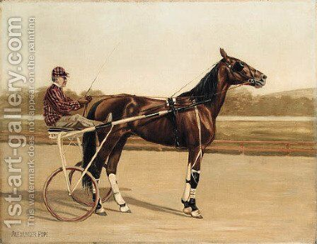 Major Delmar, a Trotter, on a racecourse by Alexander Pope - Reproduction Oil Painting