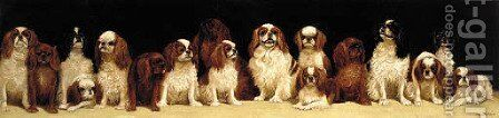 Seventeen seated King Charles and Blenheim spaniels by Alexander Pope - Reproduction Oil Painting