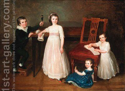 Group portrait of the Bondely children Albert, Justine, Sophie and Emilie Bondely by Alexander Speissegger - Reproduction Oil Painting