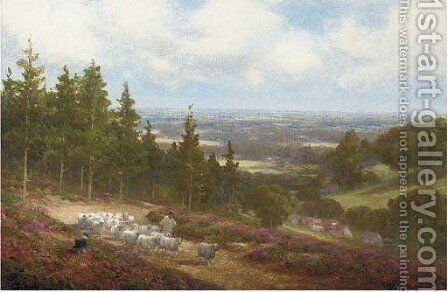 A shepherd with his flock at Shere, near Dorking by Alexander Young - Reproduction Oil Painting