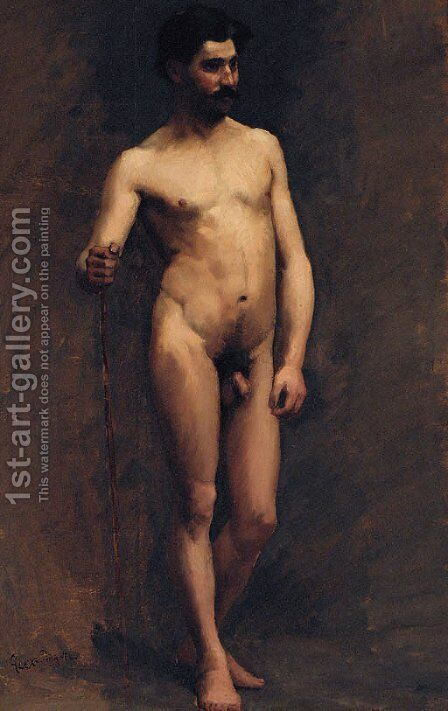 A Male Nude, Standing by Alexandre Cabanel - Reproduction Oil Painting