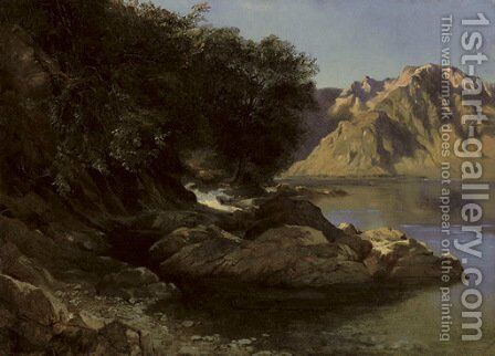 Bord de lac, 1855-61 by Alexandre Calame - Reproduction Oil Painting