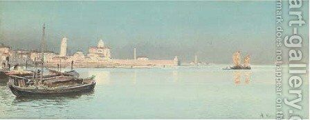 A calm day on the Venetian lagoon by Alexandre Nicolaievitch Roussoff - Reproduction Oil Painting