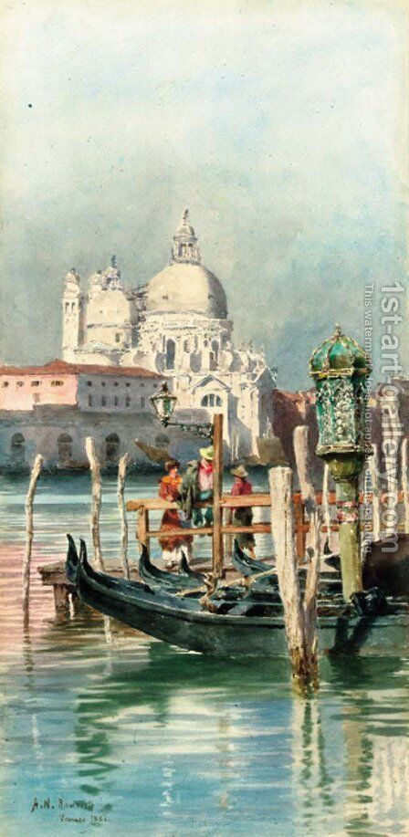 Figures before Santa Maria della Salute, Venice by Alexandre Nicolaievitch Roussoff - Reproduction Oil Painting