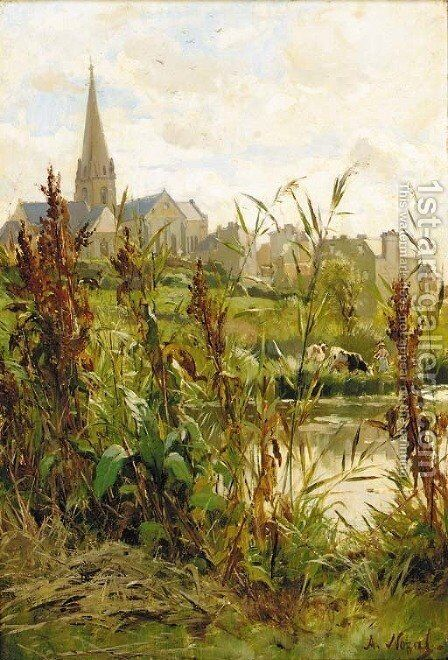 A church beyond a river by Alexandre Nozal - Reproduction Oil Painting