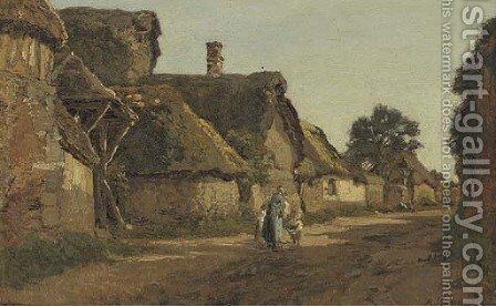 Meeting in the village street by Alexandre Rene Veron - Reproduction Oil Painting