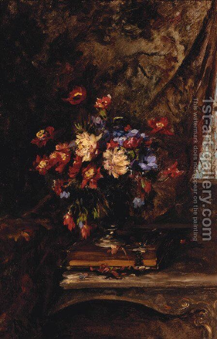 A Vase Of Mixed Flowers On A Book In An Interior by Alexandre Rene Veron - Reproduction Oil Painting