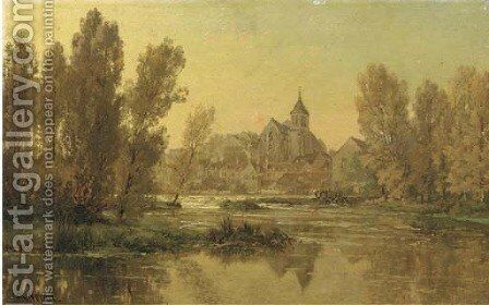 Eglise de Montigny-sur-Loing, Seine et Marne view on the church of Montigny by Alexandre Rene Veron - Reproduction Oil Painting