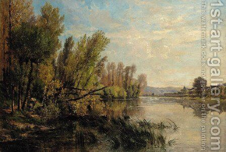 The meandering river by Alexandre Rene Veron - Reproduction Oil Painting