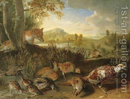English and French partridge, a covey of quail and an ornamental pheasant disturbed by a fox, on a riverbank by Alexandre-Francois Desportes - Reproduction Oil Painting