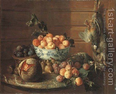 Plums in a basket and apricots in a blue and white bowl, with figs, a melon, plums, peaches and a red-legged partridge on a marble shelf, by a rabbit by Alexandre-Francois Desportes - Reproduction Oil Painting