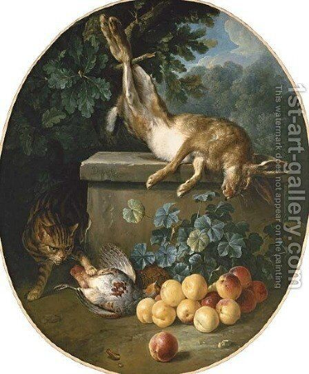 Still life with game and peaches with a cat stalking from behind a stone ledge by Alexandre-Francois Desportes - Reproduction Oil Painting